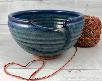 Yarn Bowl -  Large Knitting Bowl - In Stock and Ready to Ship - Ceramic Yarn Bowl  - Blue Yarn Bowl