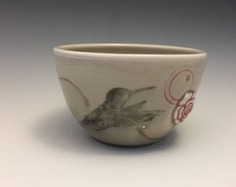 Hummingbird Bowl with Red Flower - Birdie Bowl - Porcelain - Ready to Ship