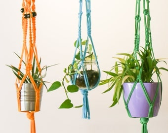 Macrame Plant Hanger - Large Yellow hanger made with 100% up-cycled t-shirt yarn and wooden beads