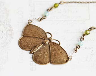 Antiqued Brass Butterfly Necklace with Crystal Accents