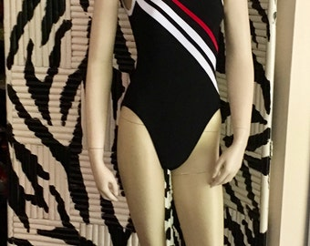 Vintage Swim Suit Mainstream One Piece Black Red White Bathing Suit Size 8 Small