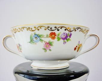 Noritake Dresdoll Orphaned Footed Cream Soup Bowl Hand Painted 40s