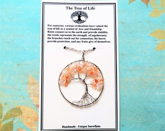 Tree of Life Necklace Wire Tree Citrine Pendant Necklace Yellow Gemstone Family Tree of Life Weeping Willow Tree of Life Jewelry Wire Tree