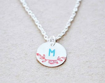 Sterling Silver Vintage Style Inital Necklace -Enameled Flower Charm Pendant