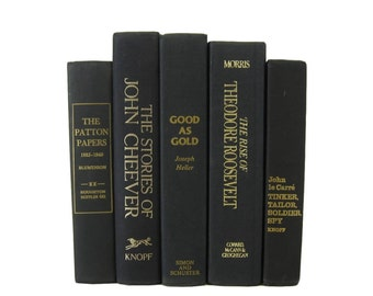 Black  Decorative Books , Black Vintage Books , Home Decor, Old Books , Vintage Photo Props, Table Setting , Wedding Decor