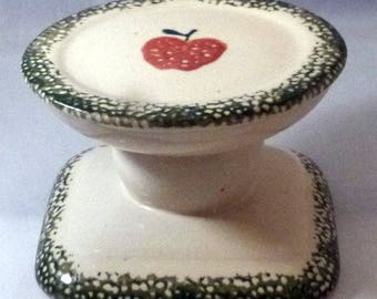 Vintage Loomco Sponge Ware Red Apple Candle Holder, 1970s