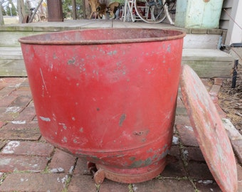 Vintage Red Seed Hopper Flower Pot / Industrial Container / Modern Farmhouse Storage