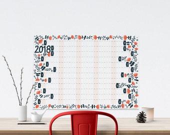 2018 Year Planner, Wall Calendar, Modern Wall Planner, Illustrated Planner, A2 Wall Planner, 12 Month Calendar, Large Wall Calendar,