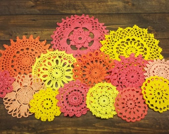 14 Hand Dyed Crocheted Doilies, Vintage Doilies in Bright Red, Orange, and Yellow Colors, Warm Tones