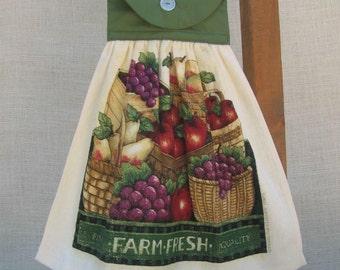 Farm Fresh Kitchen Tea Towel, Fruit Vegetable Themed Hanging Kitchen Dish Towel, Green Kitchen Decor, Autumn Harvest Towel, Kitchen Towels