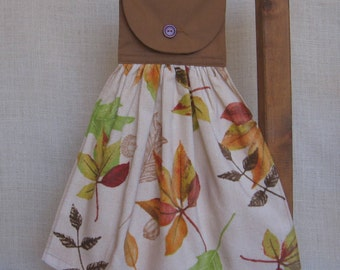 Autumn Leaves Hanging Kitchen Towels, Hand Made Towel, Hanging Dish Towel, Brown Kitchen Decor, Fall Leaf Hand Towels, Brown Beige Green