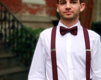 Burgundy Bow Tie, Suspenders or Set for Adults & Children, Made in the USA, Use Code TENOFF5 at checkout for 10% off 5 or more!