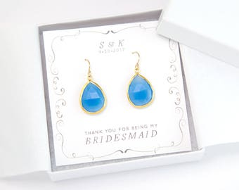Gift for Bridesmaid, Blue Gemstone Earrings, Something Blue for Bride, Bridesmaid Proposal Card, Gold Framed Stone Drop, Bridal Shower Gifts