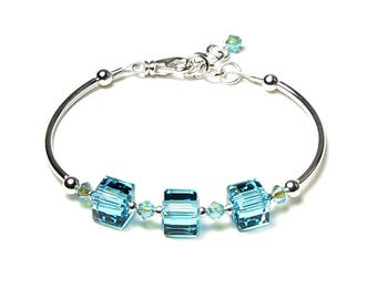 Light Turquoise Swarovski Crystal Cube Silver Beaded Bracelet With Gorgeous Sparkling AB2X Summer Jewelry Gift for Women Mermaid Beach Color