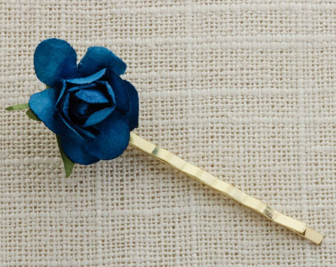 Blue Deep Turquoise Paper Flower Rose Gold Hair Clip Embellished Bobby Pin High Quality  Handmade in USA Hair Pins 16V