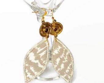 boho silk earrings, boho jewellery, hippie jewellery, festival earrings, silk jewellery, taupe and white, vintage silk, beaded, gift, tribal