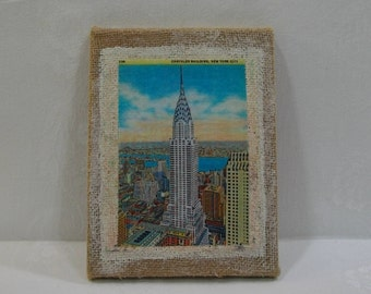 Chrysler Building Rustic Whitewashed Burlap Wall Art / New York  City Chrysler Building Vintage Post Card Wall Art Ready To Hang or Frame