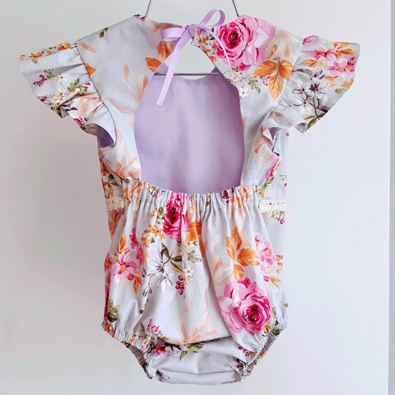 Baby Girl Emily Romper, Toddler Romper. Purple Floral Baby Romper, Flutter Sleeve Boho Romper, Vintage Playsuit, Birthday Outfit, Organic