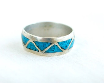 Turquoise Chevron Ring Band Size 7 .25 Vintage New Old Stock Triangle Unisex Blue Stone Jewelry