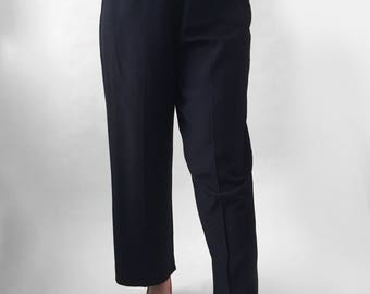 1940s Vintage Navy Rayon Women's Trousers High Waisted Wide Leg Side Zipper Pants Size Large