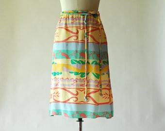 vintage Mary McFadden silk print skirt / size medium