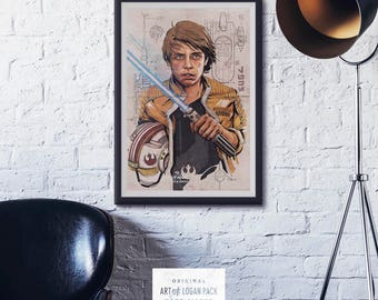 Luke - STAR WARS - A New Hope - Empire Strikes Back - Luke Skywalker - Lightsaber - Hero Art - Movie Character Poster - Original Art Poster