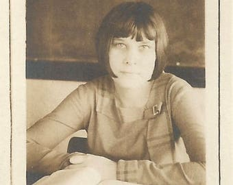 "Vintage Snapshot ""Star Pupil"" Pretty Teenage Girl Open Book Chalkboard 1920's Bob Hairstyle Found Vernacular Mini Photo"