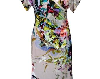 Floral Wrap Dress, Plus Size Dress, Kimono Dress, Summer Dress, Cotton Dress, Printed Dress, Jersey Dress, Summer Dress, Short Sleeves Dress