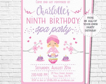 Spa Party Invitation with Blonde Girl - Spa Birthday Invitation - Pamper Party Invite - watercolor - Download & Personalize in Adobe Reader