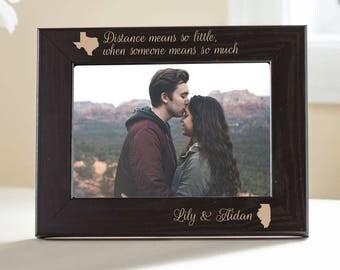 Personalized Long Distance Love Black Wood Picture Frame: Long Distance Relationship Frame, Long Distance Girlfriend, Boyfriend SHIPS FAST