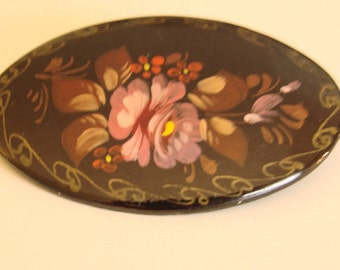 Russian Designer Signed Hand Painted Black Floral Brooch / Vintage Jewelry / Jewellery
