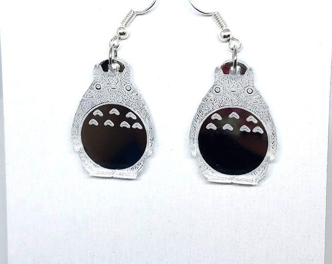 Silver Totoro Dangle Earrings | Laser Cut Jewelry | Hypoallergenic Hook Dangle Earrings | Acrylic Earrings