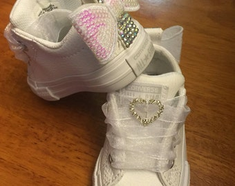 Custom White Leather Jeweled Converse
