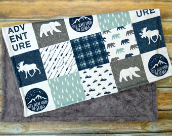 Baby Blanket - Faux Patchwork Quilt - Moose Baby Blanket - Bear Baby Blanket - Baby Gift - Baby Blanket Boy - Minky Baby blanket - Blue Gray
