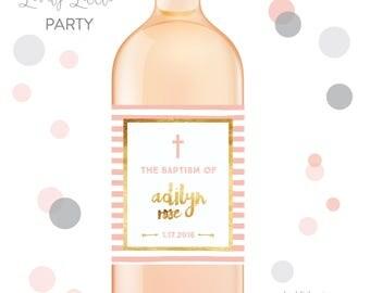 Stripes First Communion wine labels, Baptism wine labels, Dedication wine labels - style 518