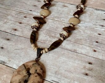 Jasper necklace - brown necklace - fall color necklace - short necklace - one of a kind - gemstone necklace - beaded necklace - gift for her