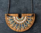 DIY Embroidery Kit, Hand Stitched Wood Necklace, Modern Embroidery Pattern, Embroidered Jewelry Kit - SMOCKED Collection Navy and Sky Blue