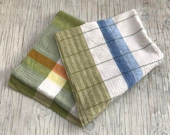 Green, blue, yellow and orange blue and green design. 46 inches square. Dining tablecloth. Picnic cloth.