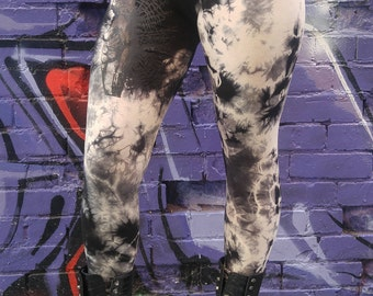 Original Print, Limited Edition, Artist Made, Hand Painted, Bamboo High Waisted, Black, White, Tye-Dyed leggings,Birds,Active Wear, Artistic