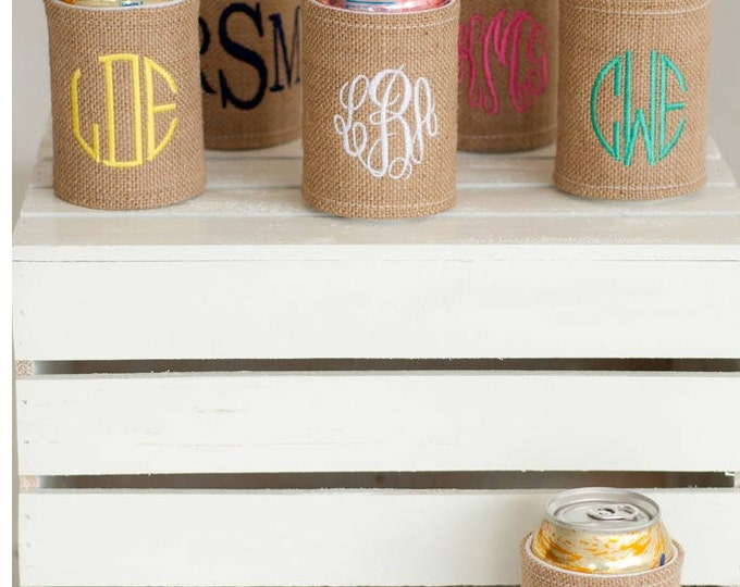 Monogrammed Drink Wrap, Can Cozie, Water bottle Wrap, Bridesmaid Gifts, Drink Wrap, Monogram Cozie, Monogram Can Cozie