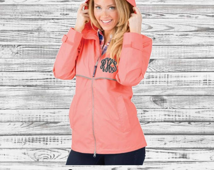 Monogram Rain Jacket - Charles River New Englander Rain Jacket - Monogrammed Rain Jacket - Monogrammed Gifts - Gifts for Her