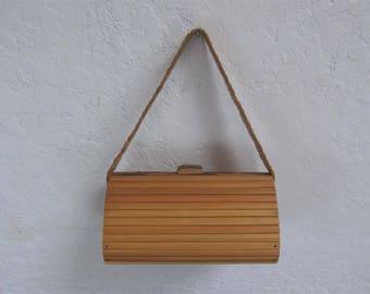On Sale! 1950's Small Wood Purse / Handbag