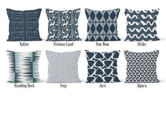 Dark Blue Pillow Cover, Decorative Throw Pillow Covers, Euro Pillow Sham 16 x 16, 18 x 18, 20 x 20, 22 x 22, 24 x 24, 26 x 26
