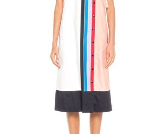 Maximalist Short Sleeve Cotton Rainbow Dress Size: 8