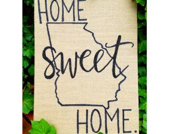 "Home Sweet Home - Burlap Sign, 9""x12"""