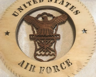 Air Force round Military Plaque without Backer, stained, scroll saw, can be personalized