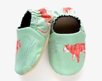 Tiger Baby Boy Shoes, Baby Booties, Non Slip Soles, Tigers for Baby Boy, Soft Shoes, Slip On Baby Shoes, Baby Boy Gift, Available in 3 Sizes