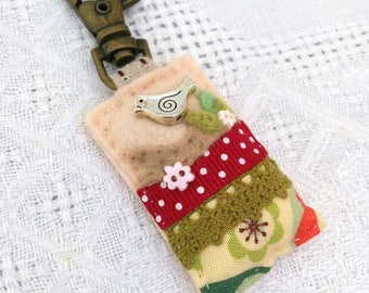 silver bird bag charm, sewn nature gifts, rustic bird accessories, twitchers gifts, bird mothers day, bird gifts for her, textile bird charm