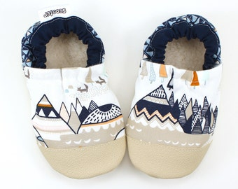 mountain baby shoes mountain booties soft sole shoes for baby gender neutral baby shoes native american baby natural baby vegan baby clothes