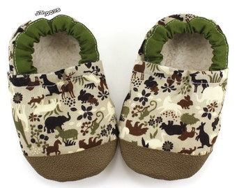 animal baby shoes safari booties zoo animal shoes rubber sole shoes soft sole shoes vegan baby animal booties boy green and brown booties